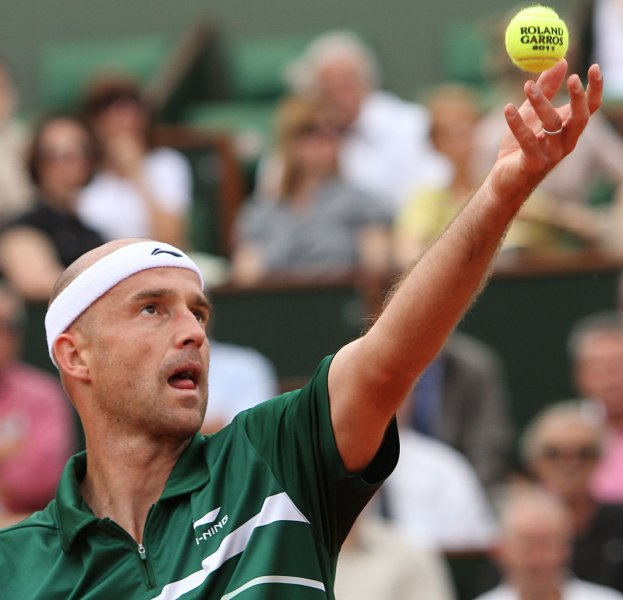Ivan Ljubicic, shown at last year's French Open, claimed a first-round win Monday at the Open 13 ATP tournament in France. UPI/David Silpa
