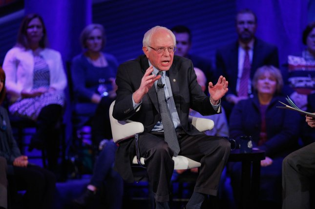 Democratic presidential candidate Senator Bernie Sanders participates in a town hall forum hosted by CNN at Drake University on January 25, 2016 in Des Moines, Iowa. Pool photo by Justin Sullivan/UPI