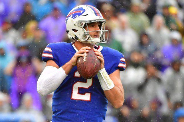 Buffalo Bills quarterback Nathan Peterman (2) looks to pass against the Baltimore Ravens in the first quarter on September 9 at M&T Bank Stadium in Baltimore. Photo by Kevin Dietsch/UPI