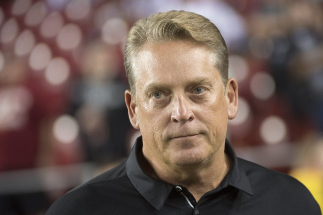 Former Oakland Raiders Coach Jack Del Rio did not coach during the 2018 season. File photo by Kevin Dietsch/UPI