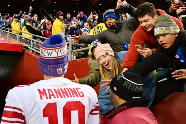 New York Giants quarterback Eli Manning expects his team to take a quarterback in the 2019 NFL Draft. File Photo by David Tulis/UPI
