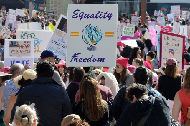 Thousands of women attend the Women's March in Los Angeles, Calif., on January 18. Similar marches were held across the nation as they have each year since 2017, when President Donald Trump took office. Photo by Jim Ruymen/UPI