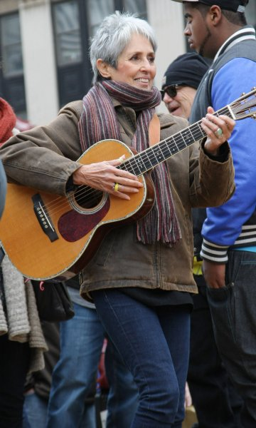 Joan Baez performs for the Occupy Wall Street demonstrators who hold a Veterans Day concert in Foley Square on November 11, 2011, in New York City. The singer turns 80 on January 9. File Photo by Monika Graff/UPI