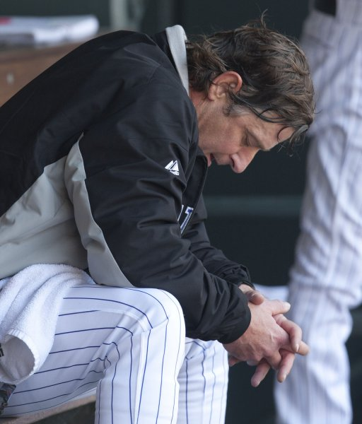 Colorado Rockies pitcher Jamie Moyer after giving up three first inning runs to the New York Mets at Coors Field in Denver, April 29. UPI/Gary C. Caskey
