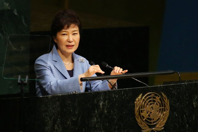 """Park Geun-hye, president of the Republic of Korea, addresses the United Nations General Assembly in New York on Monday. The South Korean president said Seoul would work with U.N. member states to actively support North Korea's path toward openness and cooperation,""""but did not provide a definitive method toward resolving the impasse with Pyongyang. Photo by Monika Graff/UPI"""