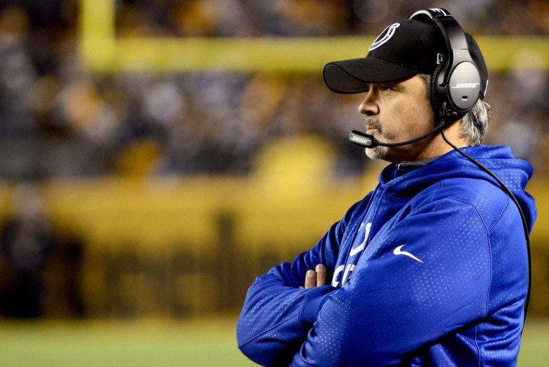 Indianapolis Colts head coach Chuck Pagano. Photo by Archie Carpenter/UPI
