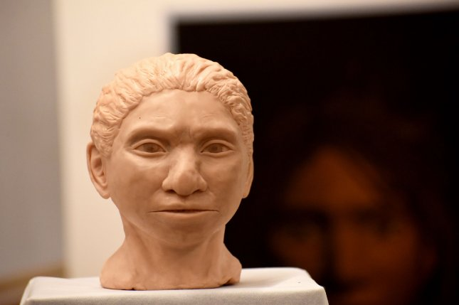 A close-up of the 3D printed reconstruction of a female Denisovan, unveiled by Professor Liran Carmel, researcher at the Hebrew University in Jerusalem, at a press event on Thursday, Sept. 19, 2019. It is the first reconstruction of the Denisovan anatomy. Photo by Debbie Hill/UPI
