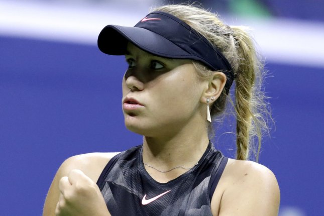 Sofia Kenin (pictured) beat Belgian Yanina Wickmayer in straight sets to advance to the second round of the 2020 U.S. Open Tuesday in Queens, N.Y. File Photo by John Angelillo/UPI