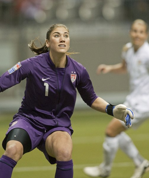 USA's goalkeeper Hope Solo looks for the ball during the first half of match #15 of CONCACAF women's Olympic qualifying finals against Canada at BC Place in Vancouver, British Columbia, January 29, 2012. USA beat Canada 4-0. UPI/Heinz Ruckemann