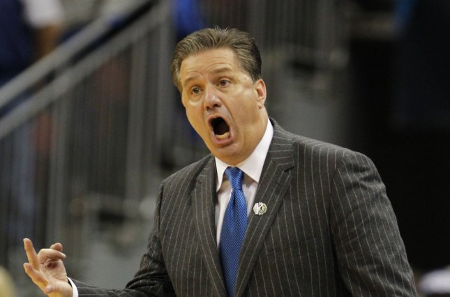 Kentucky Wildcats head coach John Calipari reacts to his teams play during the second half against the Cincinnati Bearcats in their third round game of the 2015 NCAA Division I Men's Basketball Championship at the KFC Yum! Center in Louisville, Kentucky, March 21, 2015. Photo by John Sommers II/UPI