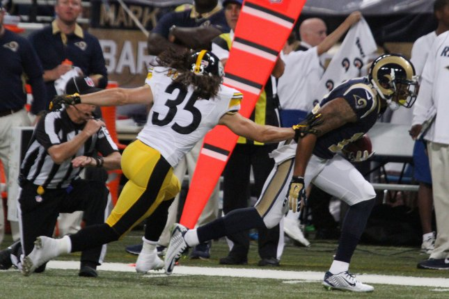 St. Louis (now L.A.) Rams' Stedman Bailey is recovering from a gunshot wound to the head. File photo by Rob Cornforth/UPI