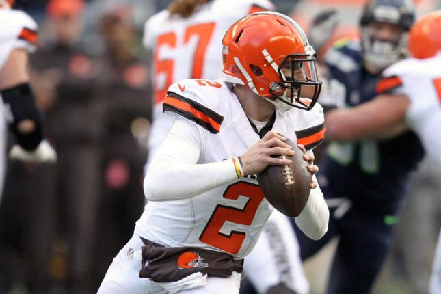 Former Cleveland Browns quarterback Johnny Manziel (2) scrambles against the Seattle Seahawks on November 29, 2015 at CenturyLink Field in Seattle. File photo by Jim Bryant/UPI