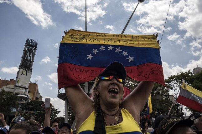 Supporters of Venezuelan opposition leader Juan Guaido demonstrate in Caracas, Venezuela, on March 4, 2019. File Photo by Marcelo Perez/UPI