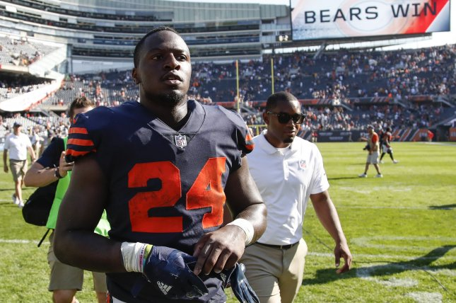 Former Chicago Bears running back Jordan Howard signed a two-year contract with the Miami Dolphins this past off-season. File Photo by Kamil Krzaczynski/UPI