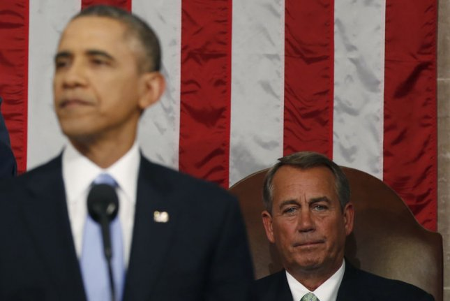 Speaker of the House John Boehner looks on as President Barack Obama speaks on Capitol Hill in Washington, DC. UPI/Larry Downing/Pool