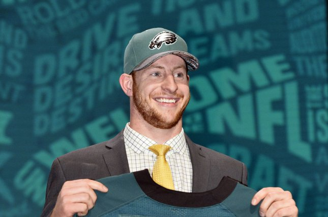 North Dakota State quarterback Carson Wentz holds his jersey after being selected by the Philadelphia Eagles with the second overall pick in the 2016 NFL Draft on April 28, 2016 in Chicago. Photo by Brian Kersey/UPI