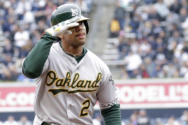 Oakland Athletics slugger Khris Davis hit two home runs in a win against the Minnesota Twins on Friday in Oakland. Photo by John Angelillo/UPI