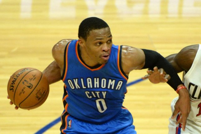 Russell Westbrook and the Oklahoma City Thunder face the Charlotte Hornets on Thursday. Photo by Jon SooHoo/ UPI.
