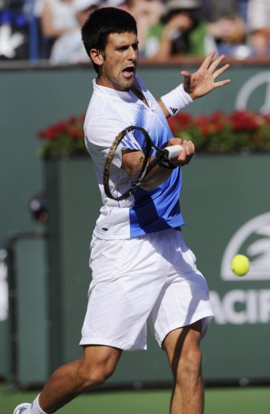 Serbian player Novak Djokovic returns a forehand during his win over US player Mardy Fish in the men's final at the Pacific Life Open at the Indian Wells Tennis Garden in Indian Wells, California on March 23, 2008. (UPI Photo/ Phil McCarten)