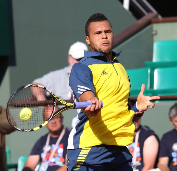 Jo-Wilfried Tsonga, shown at the 2013 French Open, picked up a first-round win Monday at the Rakuten Japan Open. He beat Gael Monfils 6-3, 7-6 (10-8). UPI/David Silpa