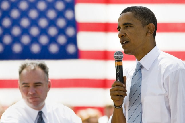 Virginia Governor Tim Kaine, D-VA, (L) looks on as Presumptive Democratic Presidential candidate Sen. Barack Obama, D-IL, speaks during a Town Hall event at John Tyler Community College on August 21, 2008 in Chester, Virginia. (UPI Photo/Patrick D. McDermott)