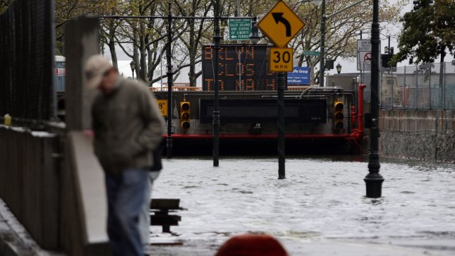 The Battery Park Underpass stands completely flooded in the early morning after Hurricane Sandy hits New York City on October 30, 2012. UPI/John Angelillo