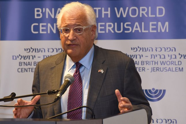 U.S. Ambassador to Israel David Friedman on Wednesday accused Palestinians and their leadership for the lack of peace with Israel. File Photo by Debbie Hill/UPI