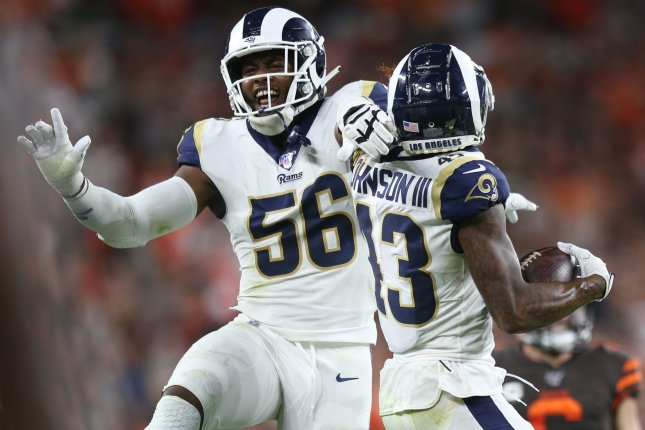Los Angeles Rams edge rusher Dante Fowler Jr. (56) recorded 11.5 sacks last season. File Photo by Aaron Josefczyk/UPI