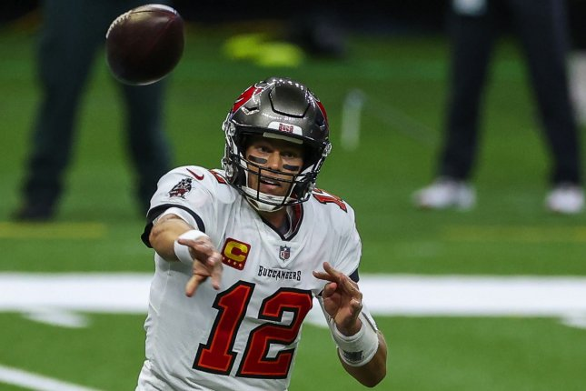 Tampa Bay Buccaneers quarterback Tom Brady (12) threw two touchdowns and two interceptions in a loss to the New Orleans Saints Sunday in New Orleans. Pool Photo by Derick E. Hingle/UPI