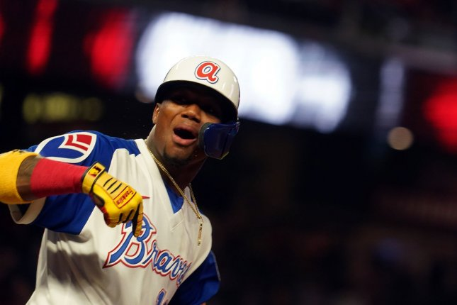 Atlanta Braves star outfielder Ronald Acuna Jr., shown April 9, 2021, suffered a torn ACL during his team's 5-4 win over the Miami Marlins on Saturday. File Photo by Tami Chappell/UPI