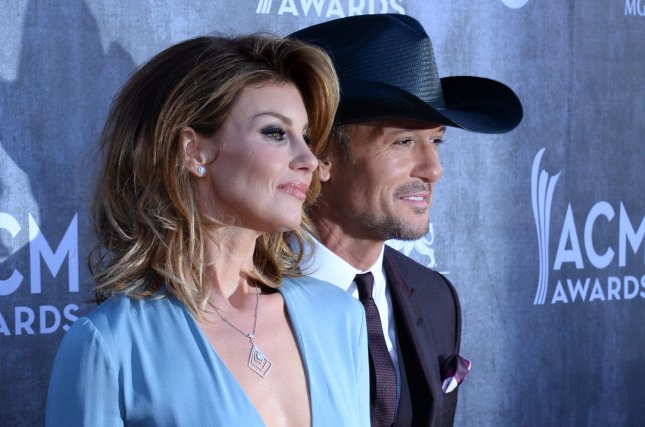 (L-R) Musicians Faith Hill and Tim McGraw attend the 49th annual Academy of Country Music Awards held at the MGM Grand Arena in Las Vegas, Nevada on April 6, 2014. The show will be broadcast live on CBS. UPI/Jim Ruymen