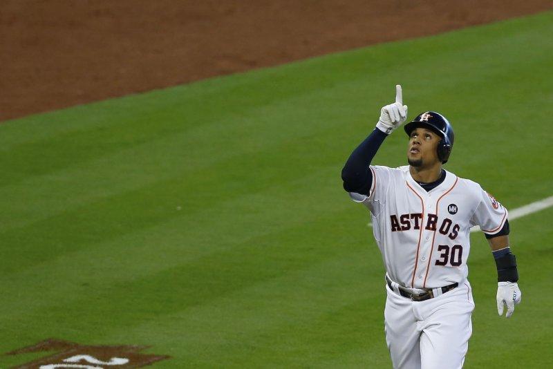Former Houston Astros center fielder Carlos Gomez (30). Photo by Aaron M. Sprecher/UPI