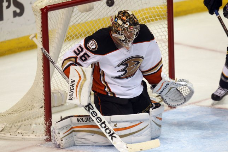 Anaheim Ducks goaltender John Gibson makes a save. File photo by Bill Greenblatt/UPI