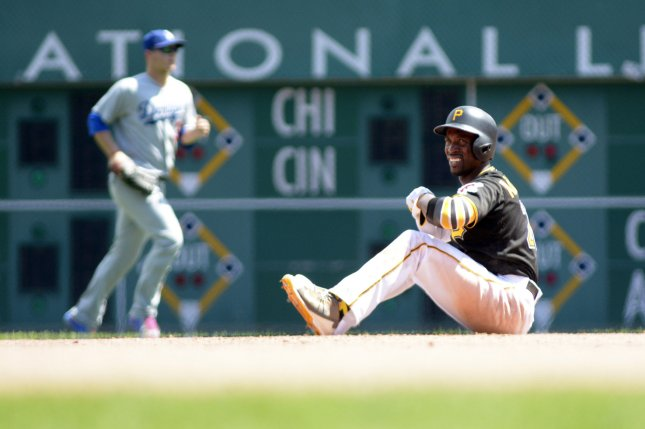 Pittsburgh Pirates center fielder Andrew McCutchen (22) reacts after he slides pass second base and is out by Los Angeles Dodgers left fielder Howie Kendrick appling the tag in the seventh inning at PNC Park on June 27, 2016 in Pittsburgh. File photo by Archie Carpenter/UPI