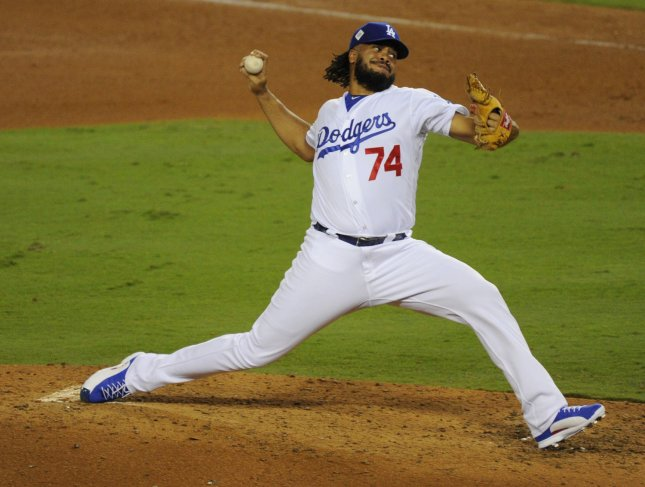 Los Angeles Dodgers reliever Kenley Jansen pitches in the ninth inning of Game 1 of the World Series against the Houston Astros. Photo by Lori Shepler/UPI