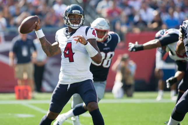 Houston Texans quarterback Deshaun Watson (4) throws a pass in the second quarter against the New England Patriots on September 24 at Gillette Stadium in Foxborough, Mass. File photo by Matthew Healey/UPI