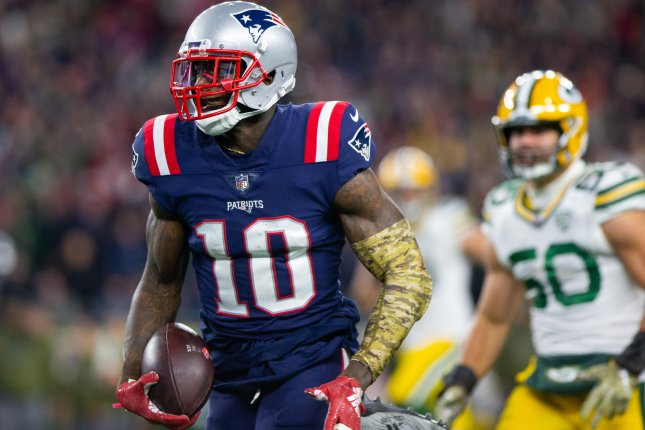 New England Patriots wide receiver Josh Gordon (10) charges down field on a 55-yard touchdown reception in the fourth quarter against the Green Bay Packers on November 4 at Gillette Stadium in Foxborough, Mass. Photo by Matthew Healey/UPI