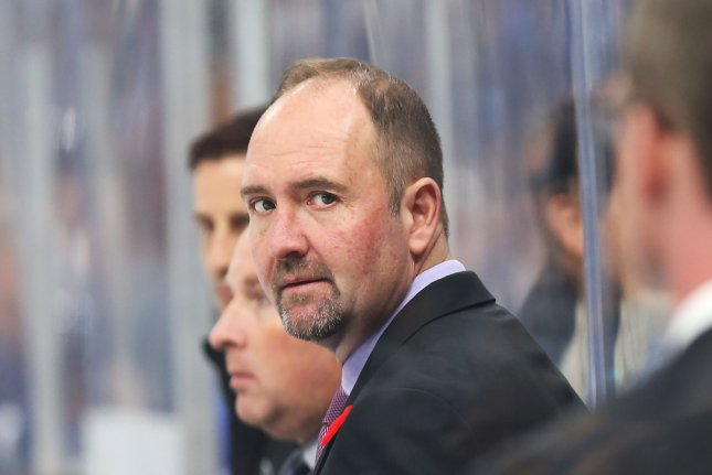 San Jose Sharks head coach Peter DeBoer was in his fifth season as head coach. He compiled a 198-129-34 record. File Photo by Bill Greenblatt/UPI