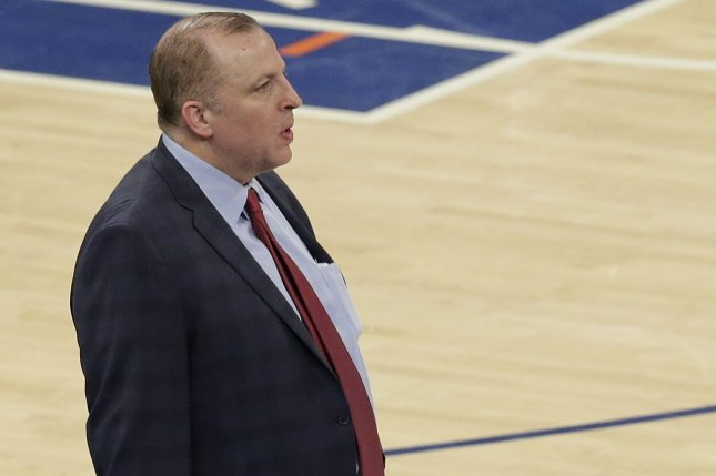 Head coach Tom Thibodeau and the New York Knicks now have the No. 8 and No. 23 picks in the first round of the 2020 NBA Draft after a draft-day trade Wednesday with the Utah Jazz. File Photo by John Angelillo/UPI