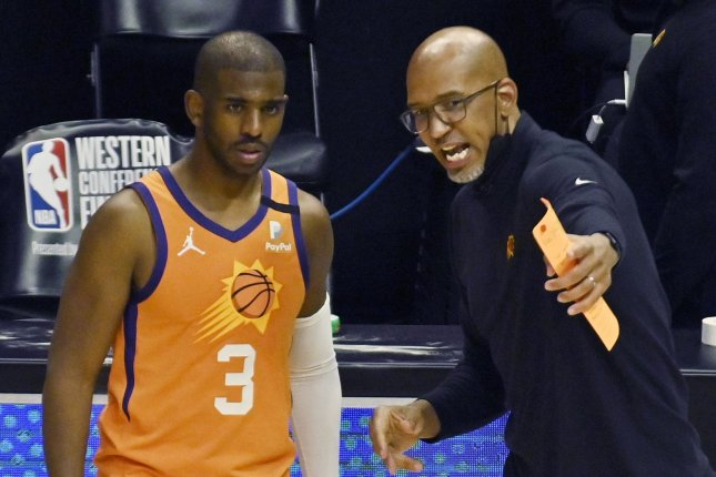 Phoenix Suns guard Chris Paul listens to coach Monty Williams during Game 6 of the Western Conference Finals on Wednesday in Los Angeles. Photo by Jim Ruymen/UPI