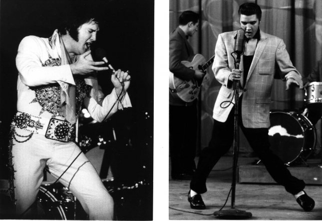 WAP1908858- 12 AUGUST 1997 - MEMPHIS, TENNESSEE, USA: A combo photograph of the King, show Elvis Presley back in 1956 (R) as young, slender and agile, when he did what he called jiggling while he sang. On the left is how he looked on 20 June 1977 in Lincoln, Nebraska, during a performance less than two months before his death in Memphis on August 16, 1977. cc/files UPI