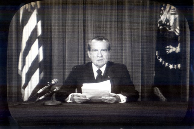 President Nixon resigns from the Office of the President, August 8, 1974 following his role in the Watergate scandal. FILE/CBS/UPI