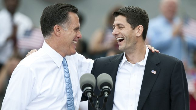 Republican presidential candidate, former Massachusetts Gov. Mitt Romney (L) introduces Rep. Paul Ryan (R-WI) as his vice presidential running mate on August 11, 2012 in Norfolk, Virginia. UPI/Patrick McDermott