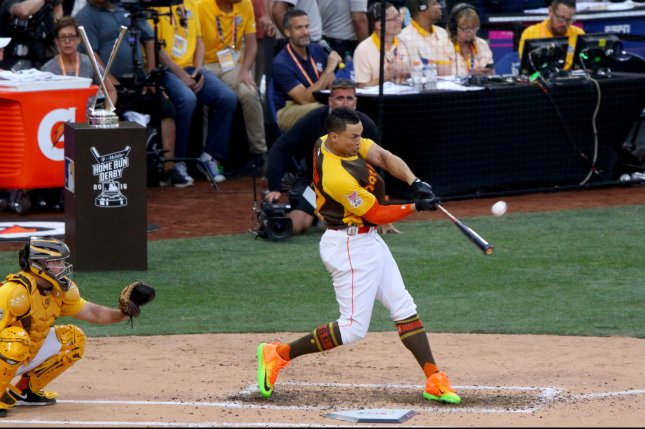 National League's Giancarlo Stanton of the Miami Marlins connects with a home run in final round of the T-Mobile Home Run Derby during the 87th All-Star Game at Petco Park in San Diego, California on July 11, 2016. Photo by Howard Shen/UPI