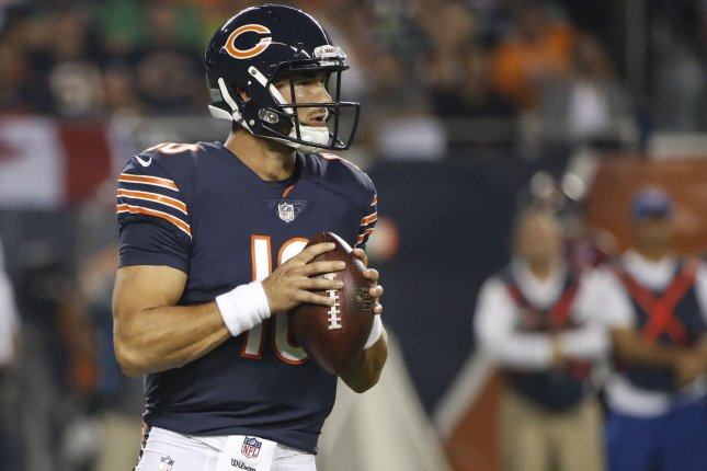 Mitchell Trubisky of the Chicago Bears looks to pass the ball against the Seattle Seahawks during the first half at Soldier Field in Chicago on September 17, 2018. Photo by Kamil Krzaczynski/UPI
