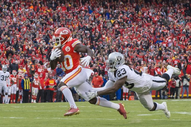 Kansas City Chiefs wide receiver Tyreek Hill (L) is entering the final year of his rookie contract. The three-time Pro Bowl selection and two-time All-Pro is currently banned from all team activities. File Photo by Kyle Rivas/UPI