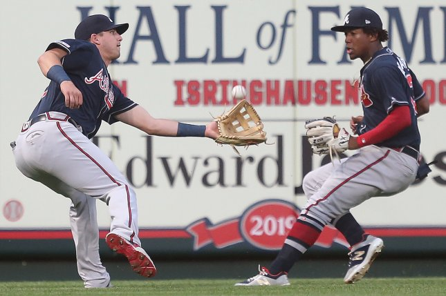 Atlanta Braves rookie Austin Riley (L) suffered a knee injury while working out in the weight room before Tuesday's game against the Minnesota Twins. File Photo by Bill Greenblatt/UPI