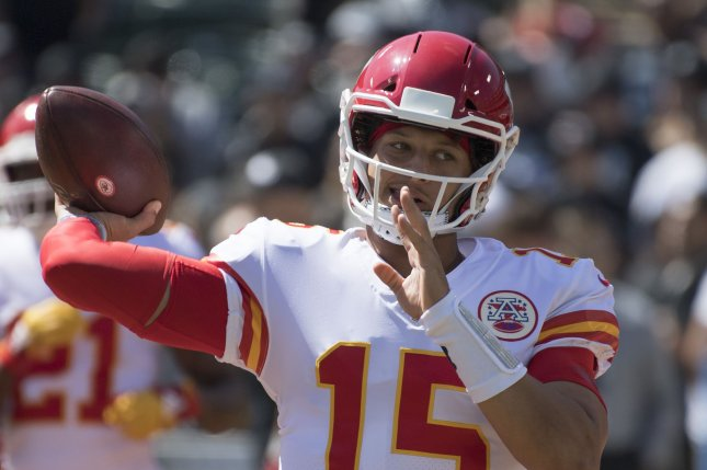 Kansas City Chiefs quarterback Patrick Mahomes was ruled out for the remainder of the game after suffering the knee injury in the second quarter. File Photo by Terry Schmitt/UPI