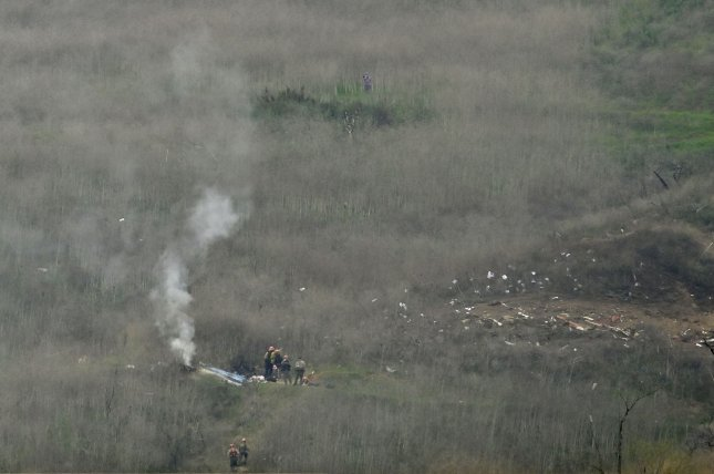 Wreckage is seen from a helicopter crash that killed former Los Angeles Lakers star Kobe Bryant and eight other people on a hillside in Calabasas, Calif., on January 26, 2020. File Photo by John McCoy/UPI