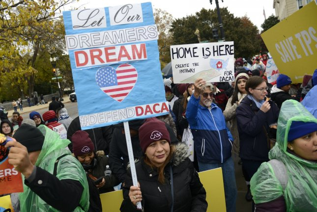 Pro-immigration demonstrators gather in front of the Supreme Court on November 12, 2019, in Washington, D.C. On Friday, a federal judge in Texas ruled former President Barack Obama didn't have the authority to create the DACA program. File Photo by Mike Theiler/UPI